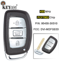 KEYECU  433MHz PCF7952 Chip P/N: 95430-3X510 DVI-MDFGE03 Smart 3 Button Remote Car Key Fob for Hyundai Elantra