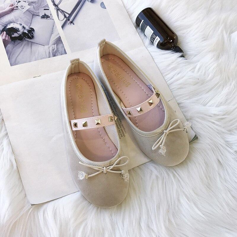 Unie 2018 Mode Confortable Tête Et Douce Arc Couleur Doux Plat Casual Automne Nouvelle Simple Chaussures Beige Ronde Femmes Chaussures rose Rivet ESqr4XwSOW