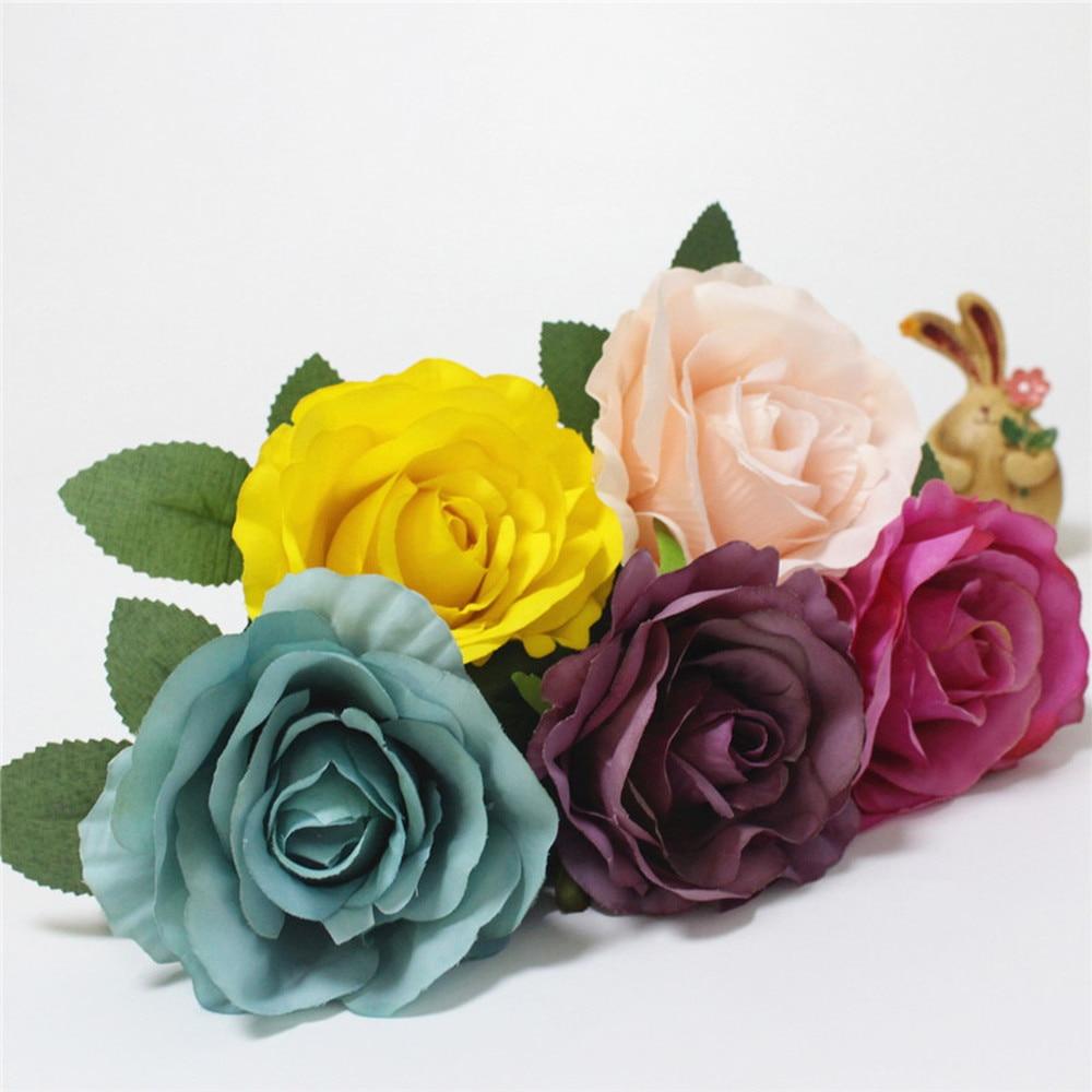 DIY sztuczna róża kwiat głowy jedwabne dekoracyjne kwiat hotelu ściana tła wystrój 100 sztuk DIY droga doprowadziły ślub bukiet kwiatów w Sztuczne i zasuszone kwiaty od Dom i ogród na  Grupa 1