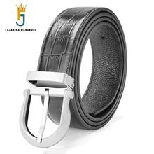 FAJARINA Quality Mens Luxury Crocodile Pure Genuine Leather Men Solid Brass Pin Buckle Casual Belts for 33mm Wide LUFJ698