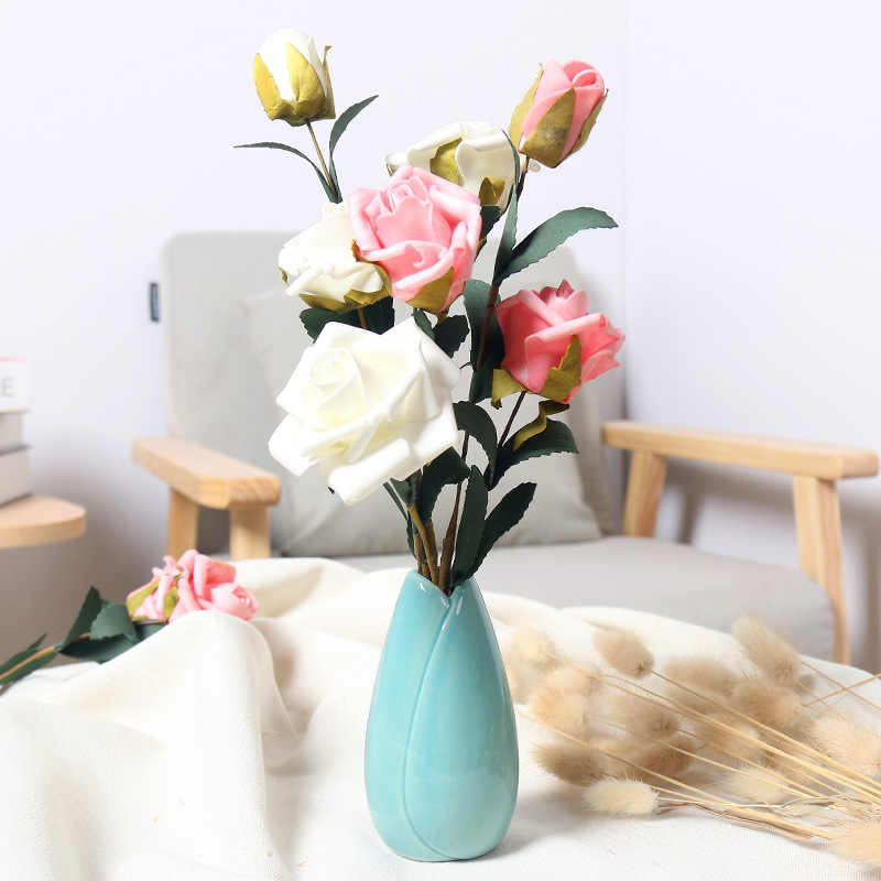 Small colorful Fresh Ceramic Vases Modern Simple Living Room Home decor Dry  Flower small decorative items Ornament Mini vase
