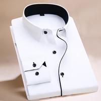 2017 Long Sleeve Shirt Men White Striped Twill Shirt Brand Clothing Casual Mens Dress Shirts Camisa