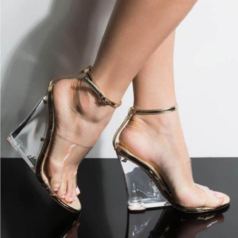 HOT Woman Sandal Transparent Jelly Shoe Soft Female Elastic Band Slip Open Toe