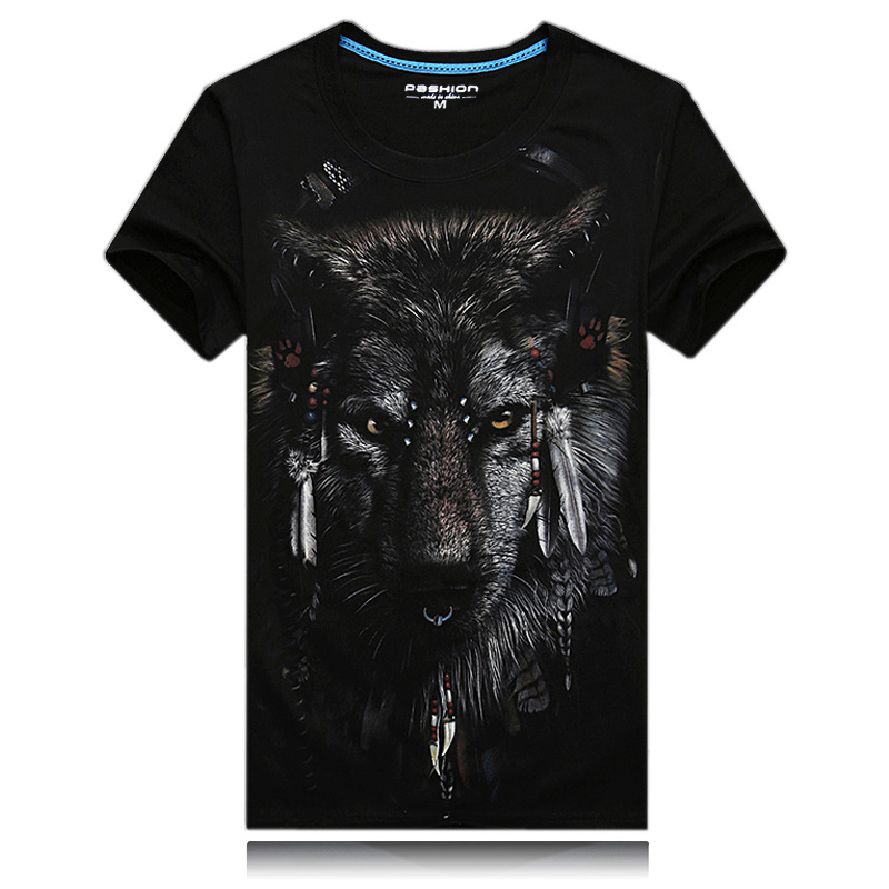 2017 New Summer The Youth Men shirt Cotton Short Sleeved Standard Male Pop Indian Wolf M