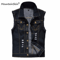 Vintage Design Men S Denim Vest Male Black Color Slim Fit Sleeveless Jackets Men Hole Jeans