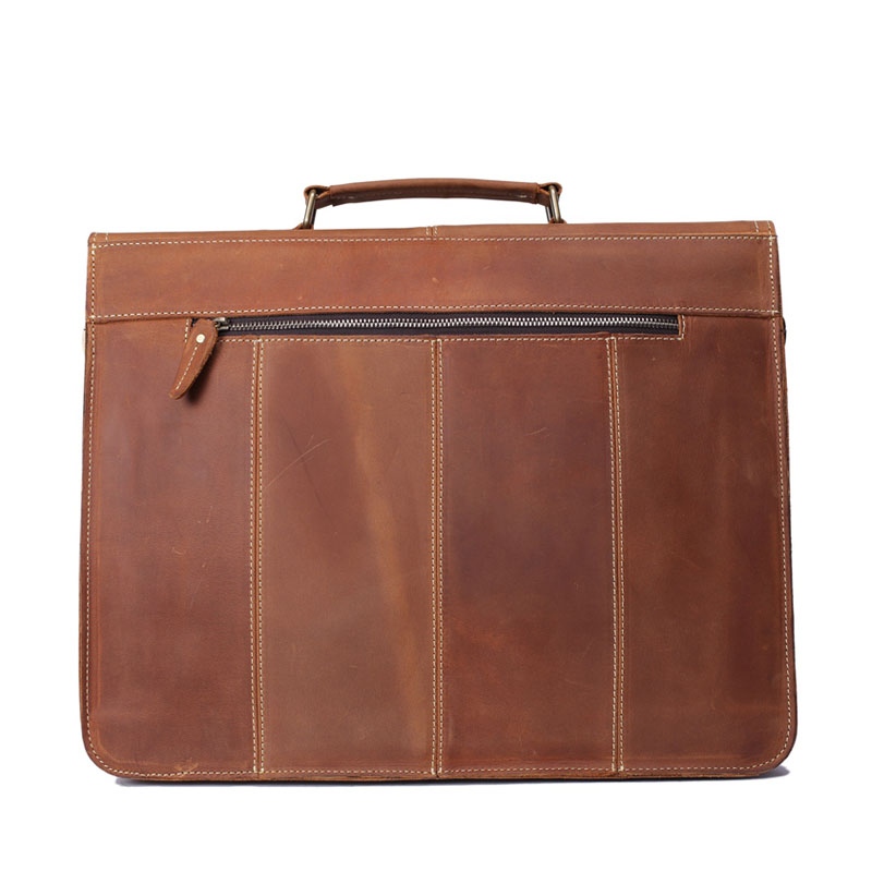 ROCKCOW Håndlaget Vintage Leather koffert Menn Messenger Bag Laptop - Stresskofferter - Bilde 4