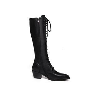 Image 4 - MORAZORA 2020 جديد جلد طبيعي حذاء برقبة للركبة النساء أزياء من الدانتل حتى مربع عالية الكعب أشار تو الشتاء الثلوج الأحذية الإناث