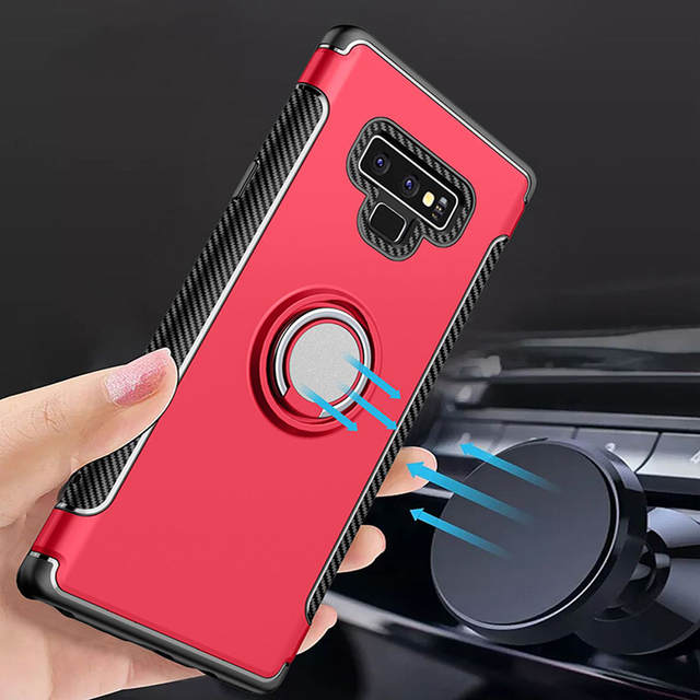 new product 9c7d4 e98c8 US $3.34 7% OFF|Jetjoy For Samsung Galaxy Note 9 Case Shockproof Magnetic  Metal Ring Holder Protective Phone Cases Carbon Fiber Armor Cover-in Fitted  ...