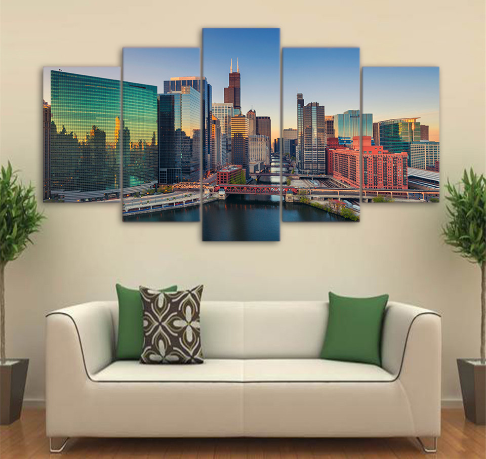 5 Piece Canvas ArtPoster And Prints City Building Skyscrapers Wall Canvas Painting Wall Art Pictures For Living Room Home Decor
