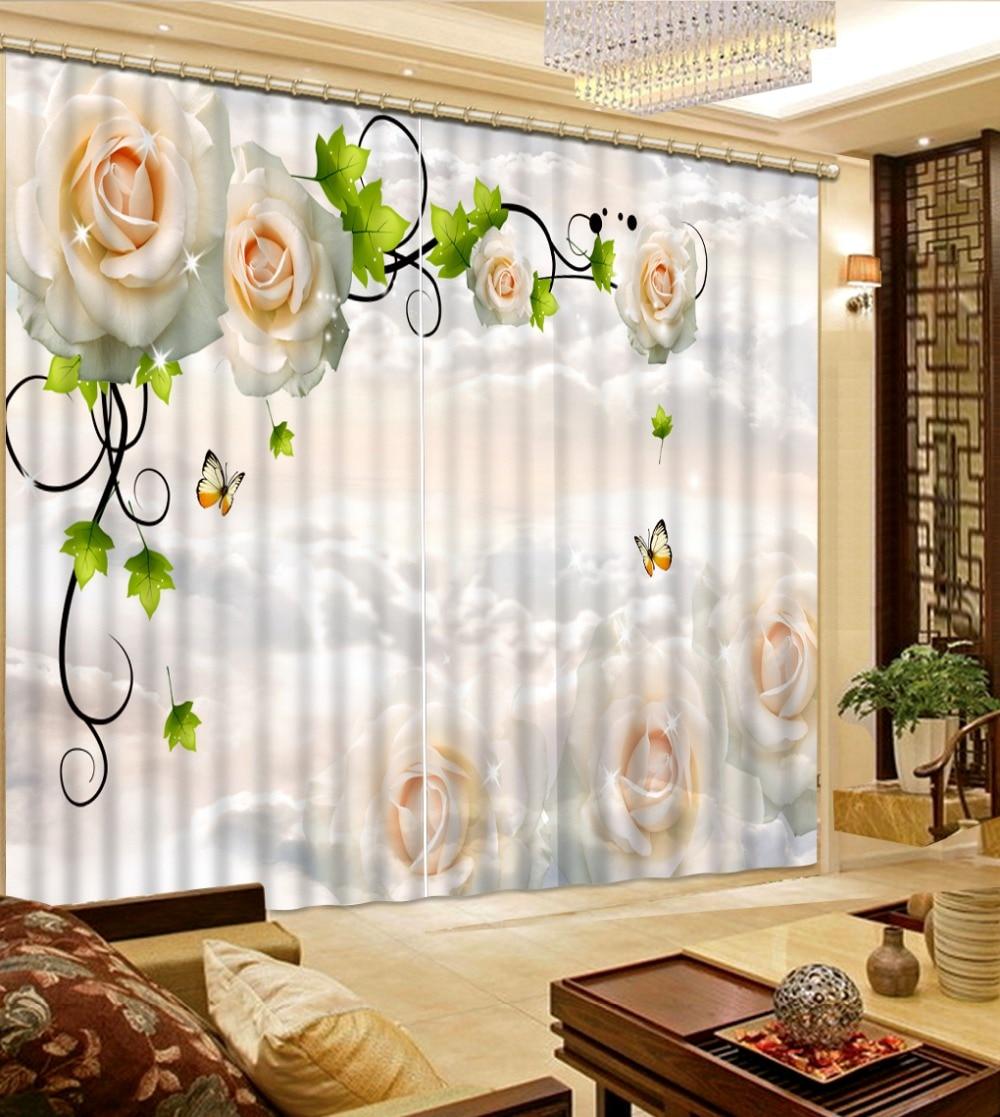 Home Decor Living Room Natural Art white flower rose custom curtain ...