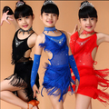 New Sequin Kids Fringe Salsa Dress Tassel Child Soft Latin Dresses Girls Latin Dance Costumes XS-3XL Blue Pink Black Red