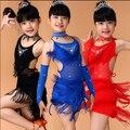 Nueva lentejuela niños Fringe Salsa borla niño baile latino suaves vestidos chicas trajes de baile latino XS-3XL azul rosa negro rojo