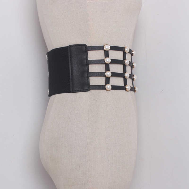Chicever искусственная кожа Перл женский ремень корсет черный elasitc широкий Ремни для Женское платье поясом Корея модная одежда аксессуары