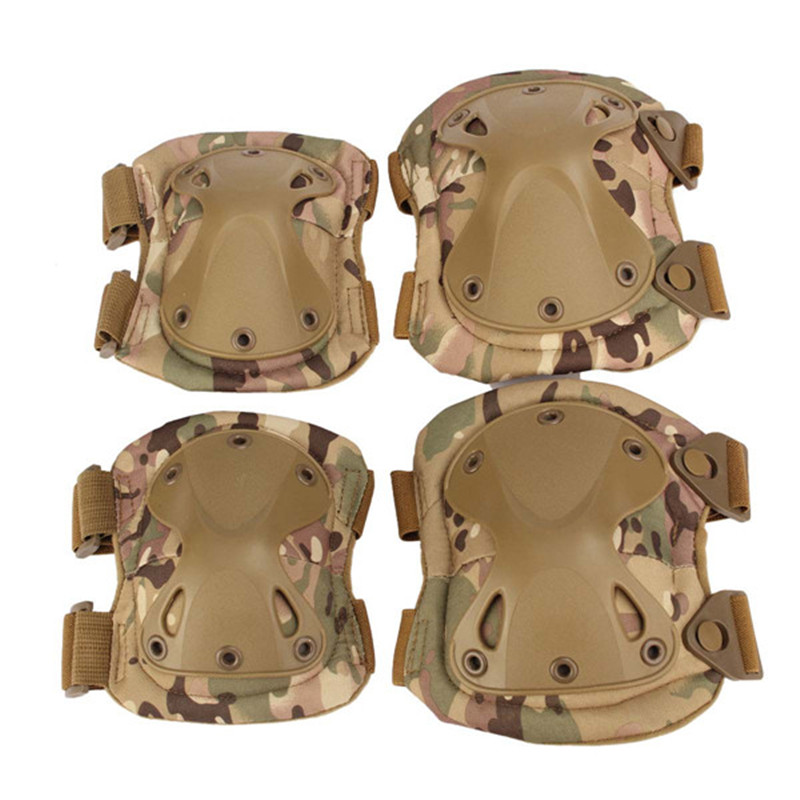 4pc Protection Knee Pads and Elbow Pads Set Tactical Paintball Sports New