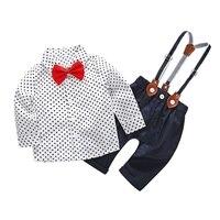 Newborn Baby Boy Clothing Set Spring Star Shirt Red Bow Tie Fashion Bib Set Fashion Baby