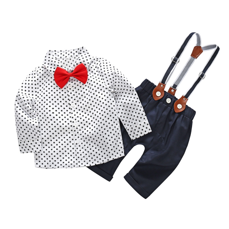Boy T-shirt Newborn Baby Boy Clothes Set Baby Rompers Star Shirt Red Bow Tie Fashion Bib Set Fashion Baby Boy Gentleman Set new 2018 spring fashion baby boy clothes gentleman suit short sleeve stitching plaid vest and tie t shirt pants clothing set