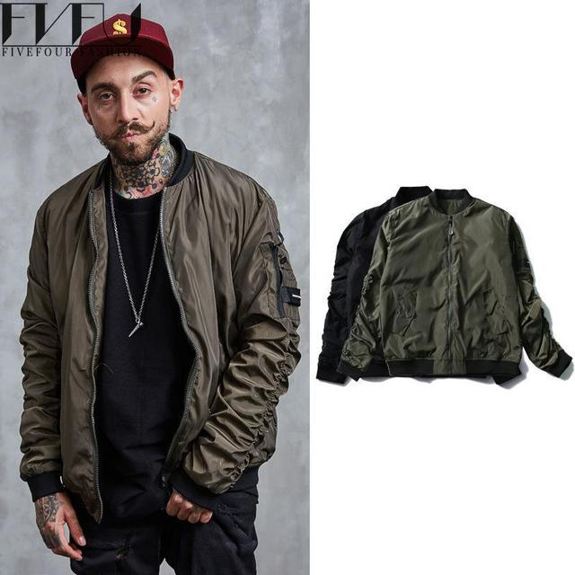2017 New Fashion Jackets Men Solid Color Retro Oversize Bomber