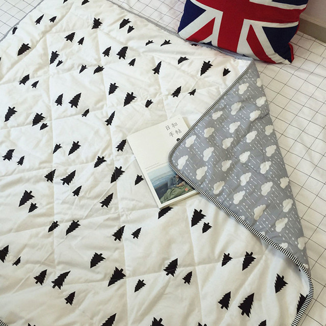 110 *130 CM  Plain  Style Double-sided Printing Cotton Baby Quilt  Bamboo Fiber Breathable Comfort Cool Summer Quilt  1pcs