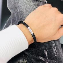 Trend Mens Bracelet Black Braided Leather Bracelets For Men Stainless Steel Clasp Bangles Women Jewelry Gift BB0029