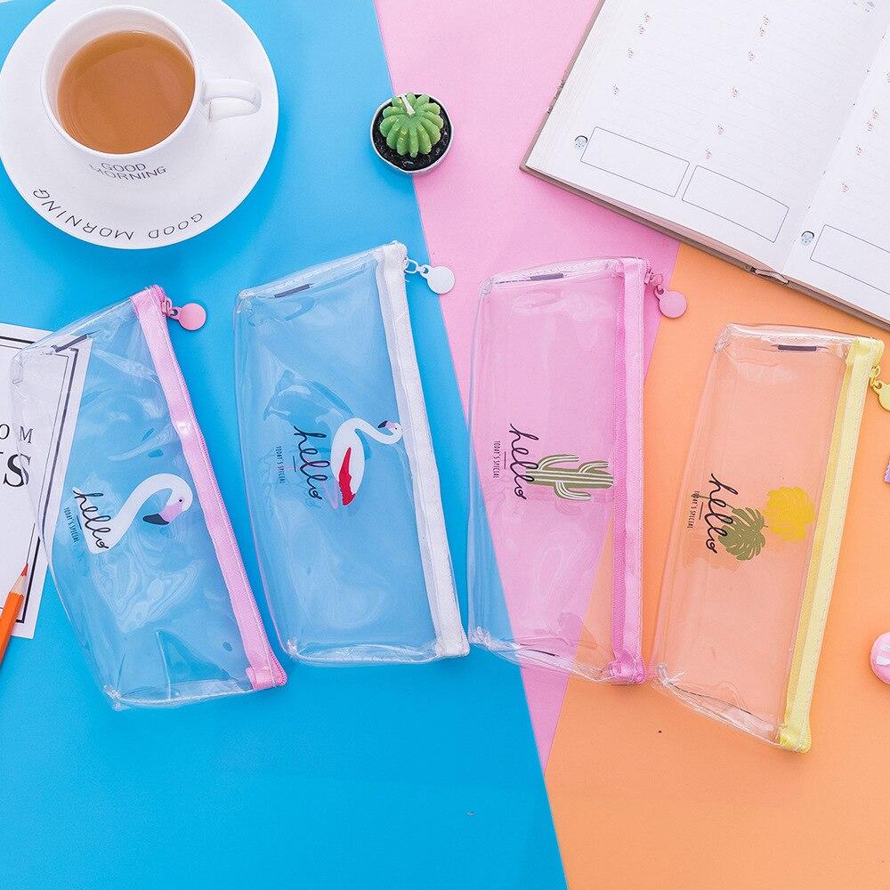 BONAMIE Flamingo Clutch Bag Transparent PVC Pencil Case Stationery Storage Pen Bag Cute Cactus Pencilcase Gift Women Make up Bag
