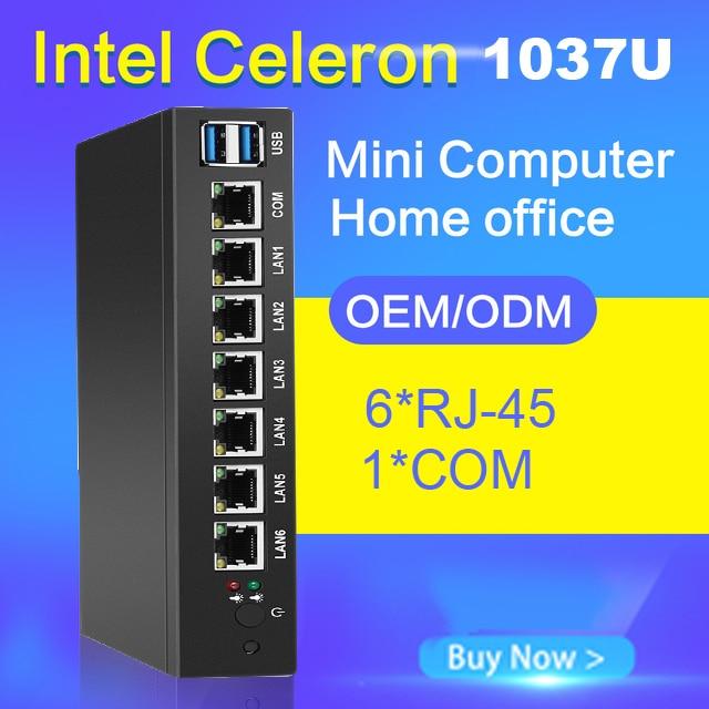 Doux Routeur Mini PC 1037U 1007U 6 Ethernet Gigabit LAN Intel NIC Multi Réseau COM Série USB Ports PC Industriel run Pfsense