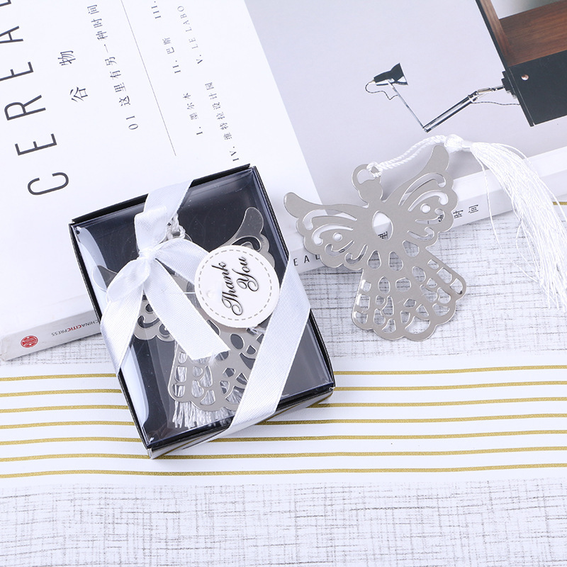 Angel Silver Bookmark For Baptism Baby Shower Souvenirs Party Christening Giveaway Gift 20 Pcs