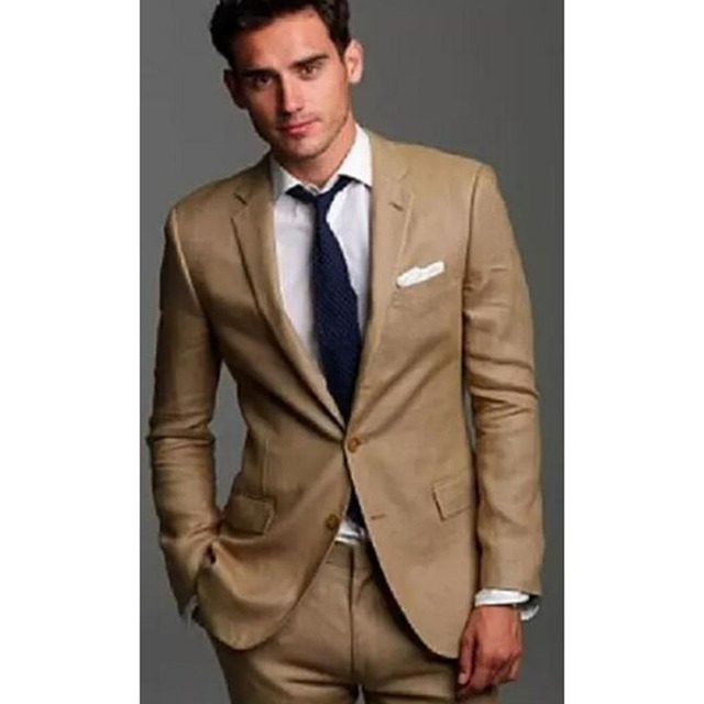 c15598f2e 2018 Beige Mens wedding dresses suits groom costume homme two pieces man  suit jackets+pants handsome khaki men suits for wedding