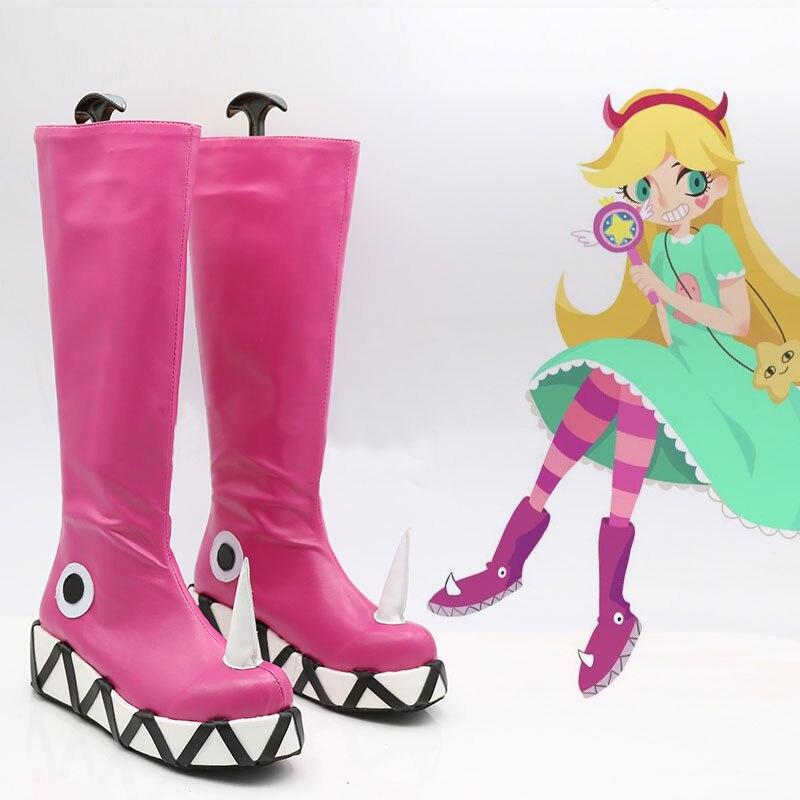 Anime Star vs. les Forces du mal femmes Cosplay bottes princesse étoile papillon rose chaussures