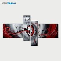 Hand Painted Oil paintings on canvas painting abstract black white red decoration modern oil painting modular picture