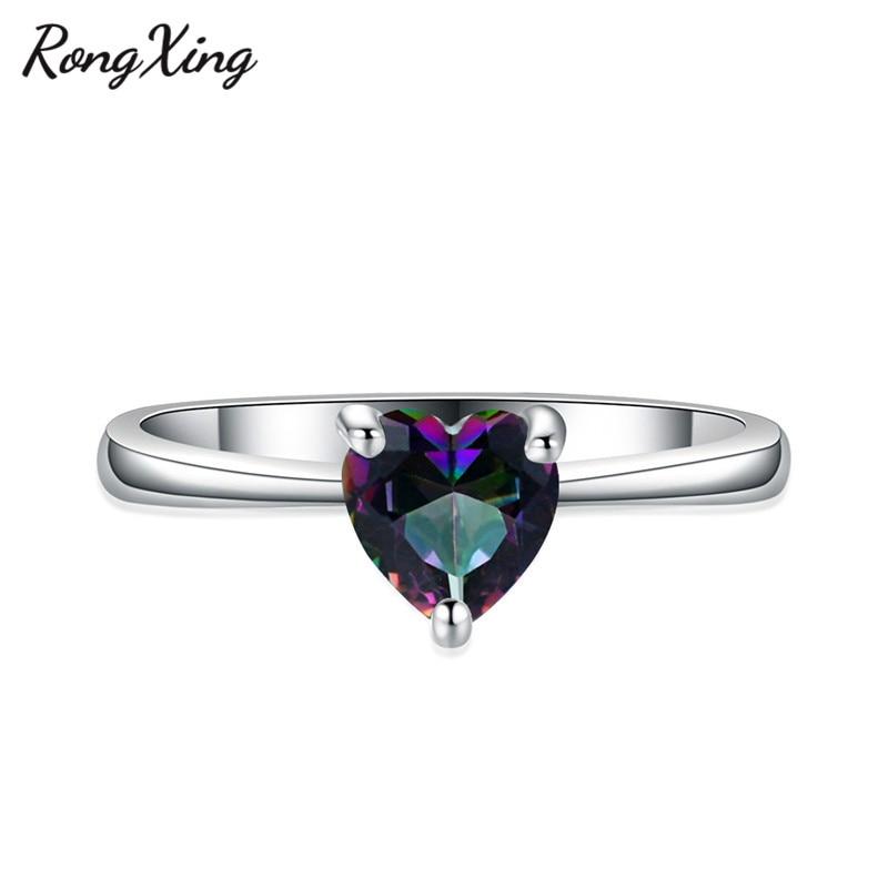 RongXing 925 пробы заполненный серебром браслет с сердцем из опала камень кольца для женщин Винтажная Мода фиолетовый/красный/синий/кольцо с зеленым Цирконом подарок - Цвет основного камня: Multicolor