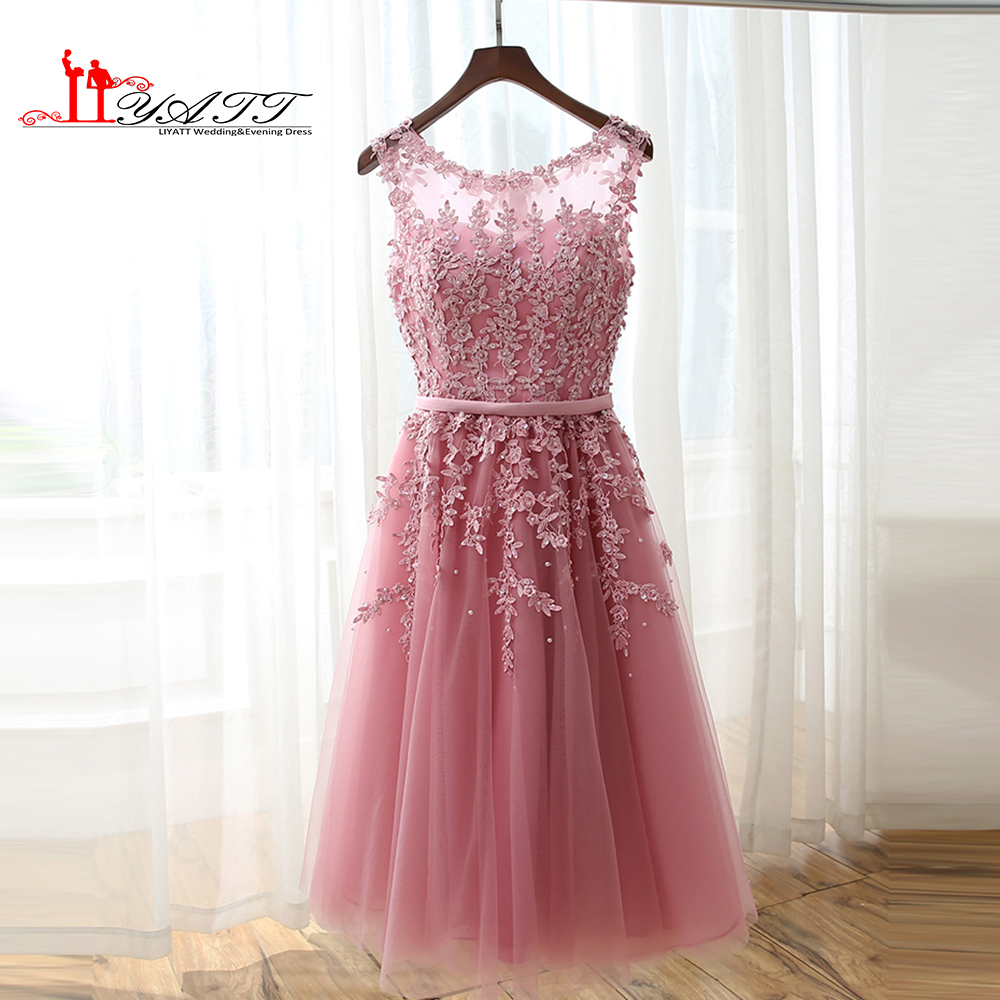 2016 Dust Pink Beaded Lace Appliques Short Prom Dresses