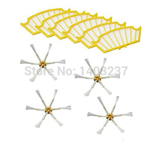 6 Filters + 4 Side Brush 6 Armed for iRobot Roomba 500 Series 530 540 550 560 570 580 610 Vacuum Cleaning Robotic Accessory 3pc brush replacement mini kit 6 armed for irobot roomba 500 series free shipping