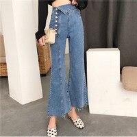 LANMREM 2018 New Fashion Irregularly Buckled High waist Denim Flared Pants Trousers Female's Personality Blue Jeans YE61305