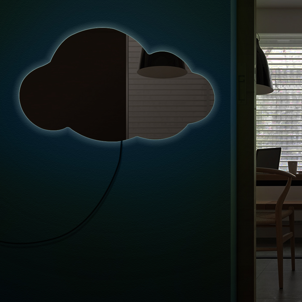 Cloudy Wall Mirror Weather Art Modern Home Decor Hanging Cloud Decorative Mirror Cloud Silhouette Acrylic Mirror With LED Light