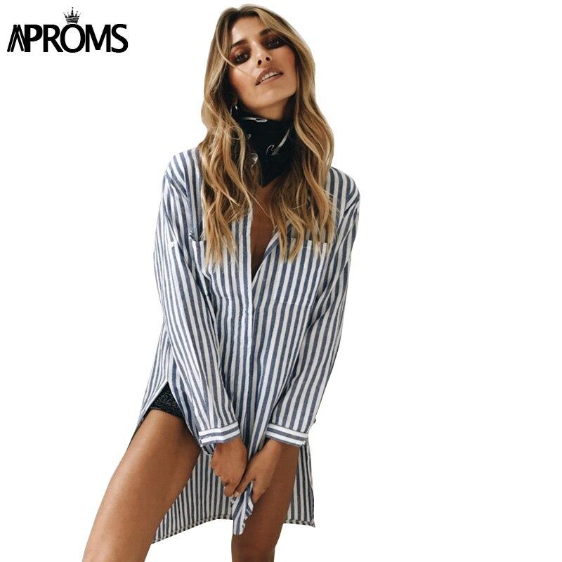Aproms luxe rayas cool girls algodón de manga larga blusa larga de las mujeres c