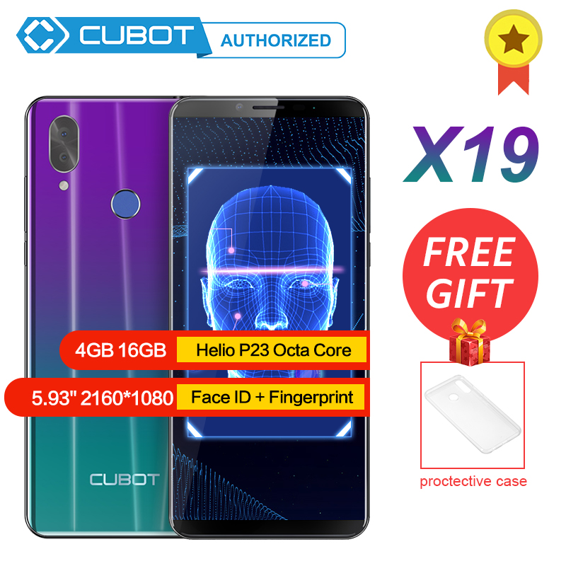 "Cubot X19 Android 8.1 Helio P23 Octa Core Mobile Phone 4000mAh 4GB RAM 64GB ROM 5.93"" FHD+ Smartphone 16.0MP 4G LTE Cell Phones"