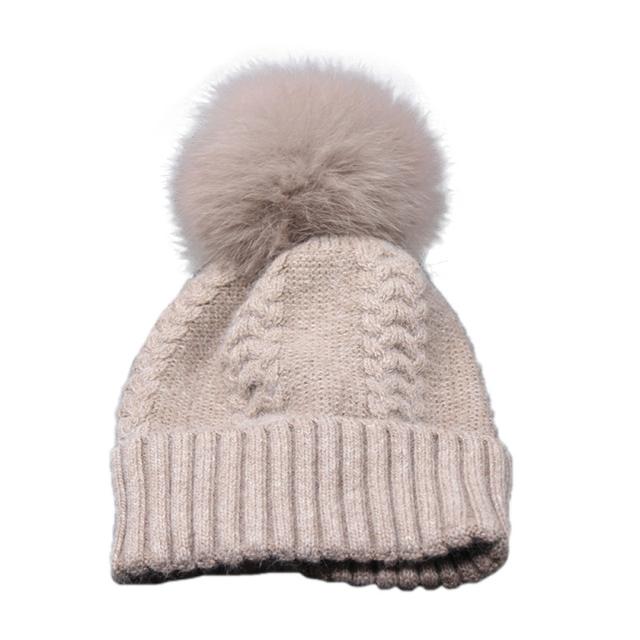 Recién Diseño de Moda de Invierno de Punto Gorros de Invierno Cálido Sombrero Con la Bola de Piel Sintética Para Las Mujeres 161006