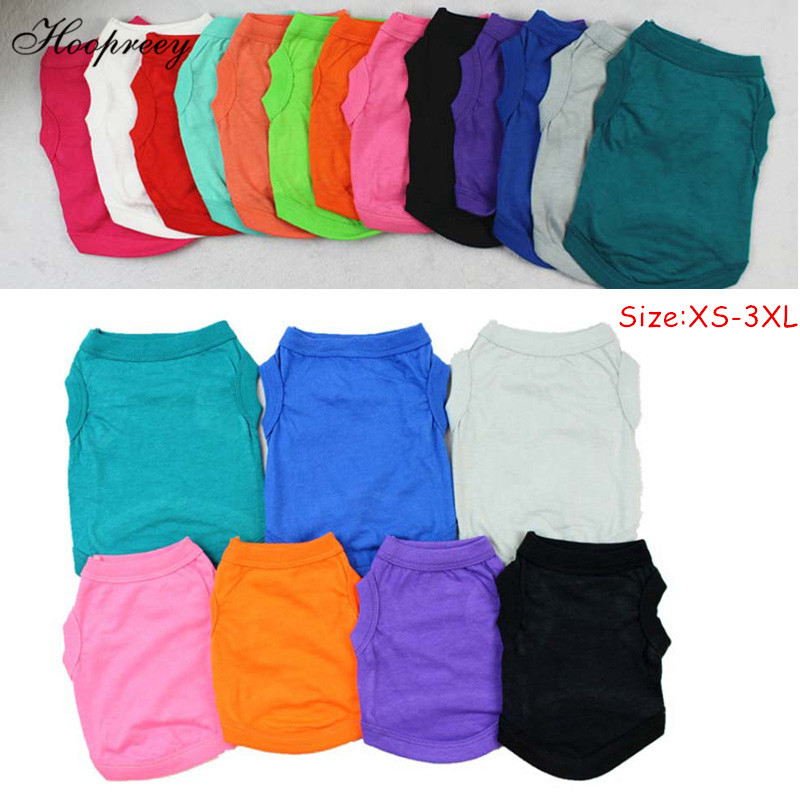 XS-3XL Summer Solid Pure Cotton Dog Shirts Clothes Leisure Soft Dog Vest Cat Bottoming Shirts For Large Medium Small Dogs 10A