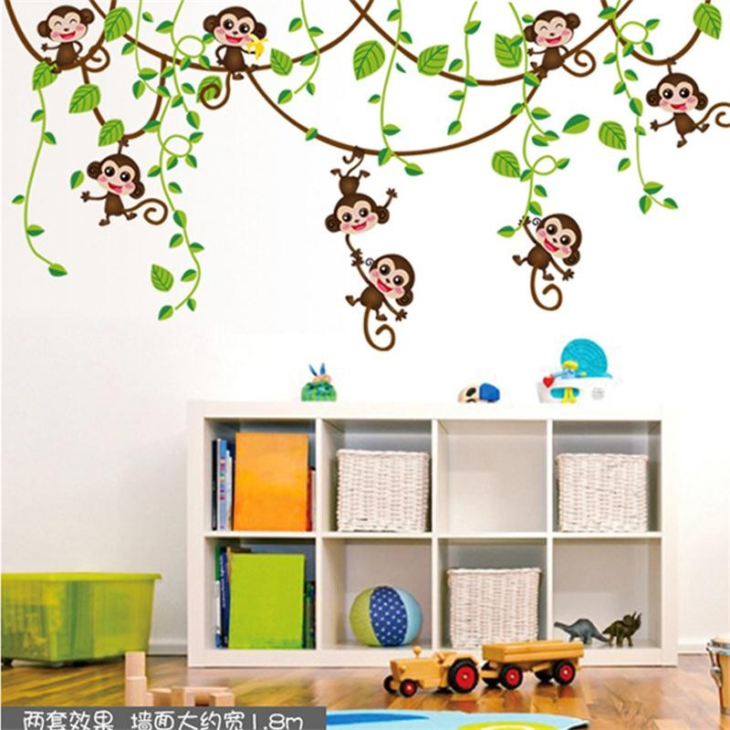 Monkey Jungle Tree Wall Decals Home Decor Wall Stickers Kids Room