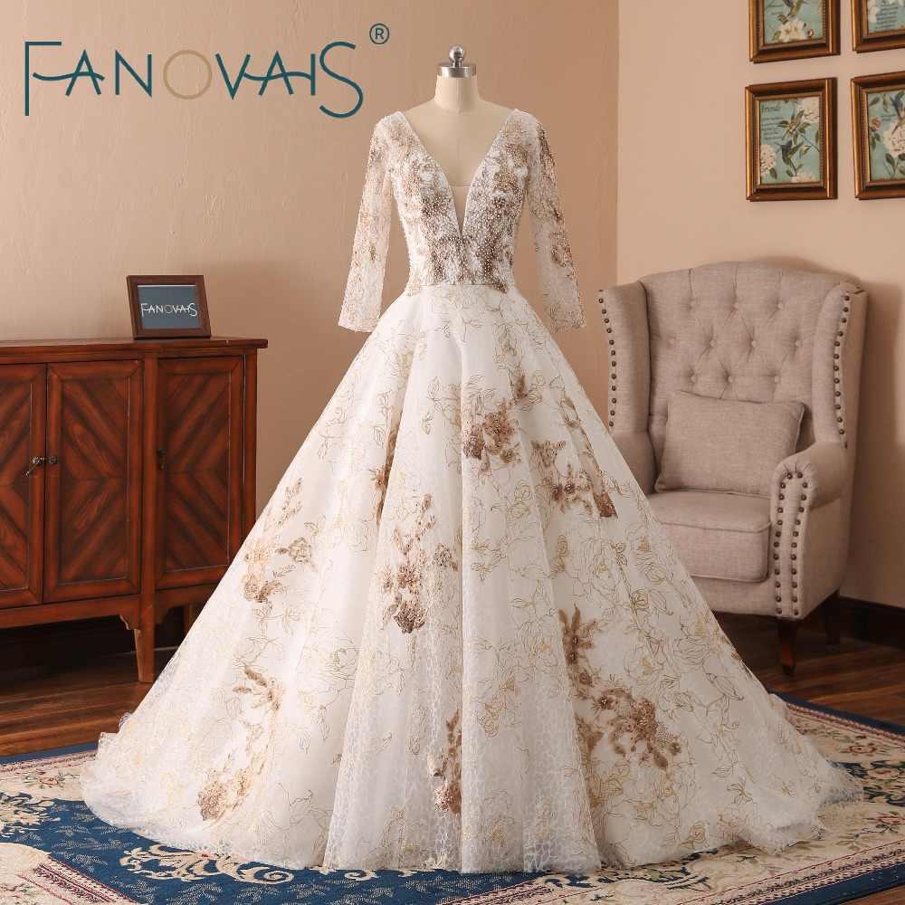 Gold Wedding Dresses 2019 Pearls Long