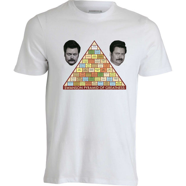 393790578b50 Ron Swanson Parks And Recreation Pyramid Of Greatness men's top white t  shirt T Shirt Men Funny Tee Shirts Short Sleeve