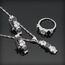 Black Sapphire White Topaz 925 Sterling Silver Jewellery Units For Girls Silver Earrings/Ring/Necklace/Pendant Free Jewellery Field