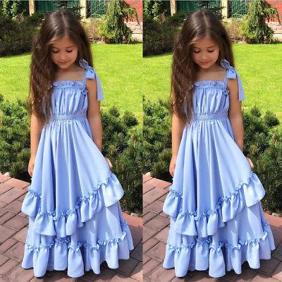 Blue Ruffles Girl Strap Princess Dresses Kids Sleeveless Party Pageant Ball Gown Dress Summer Tutu Tulle Maxi Beach Dress Outfit