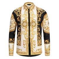 Erkekler altın saray çiçek 3D baskı gömlek adam Hipster lüks elbise gömlek Chemise Homme 2018 yeni moda giysi camisa masculina|Frak Gömlekler|Erkek Kıyafeti -