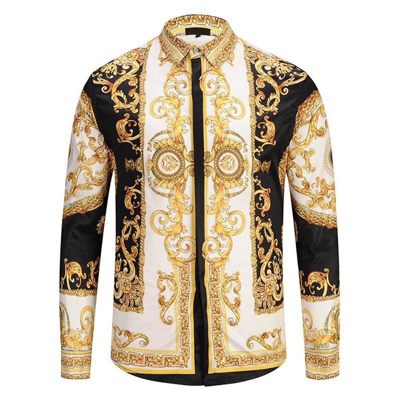 2f6486e1cf Hombres oro Palacio Floral 3D imprimir camisetas hombre Hipster vestido de  lujo camisas Chemise Homme 2018 nueva ropa de moda camisa masculina -  a.dedede.me