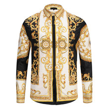 Mr.MayLan Gold Palace Floral 3D Print Man Hipster Luxury Dress Shirts Chemise Homme