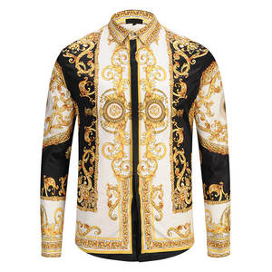 Dress Shirts Chemise Hipster Gold Palace-Floral New-Fashion Luxury Man 3D Camisa Masculina