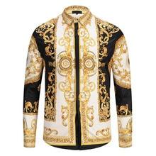 Men Gold Palace Floral 3D Print Shirts Man Hipster Luxury Dress Shirts