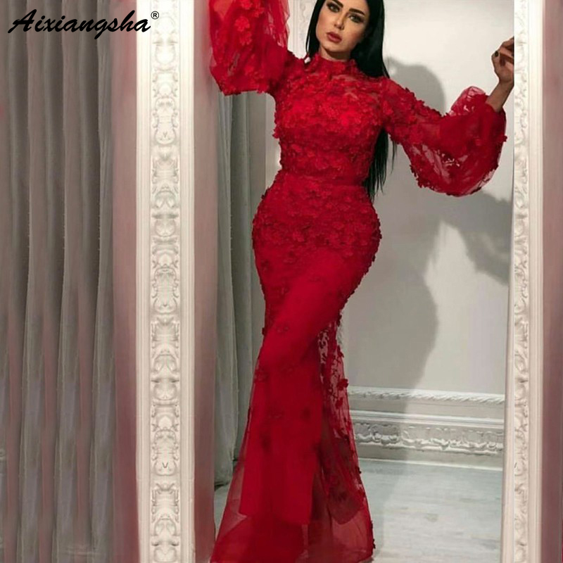 Evening Dresses Burgundy Muslim Evening Dresses 2019 Mermaid Long Sleeves Flowers High Neck Saudi Dubai Kaftan Arabic Elegant Long Evening Gowns