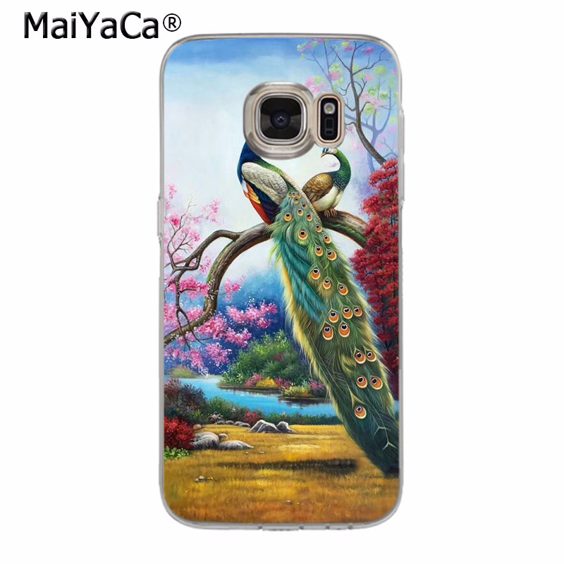 MaiYaCa Pretty Bird Peacock Feathers Coque Shell Phone Case for Samsung S5 S6 S7 Edge S8 Plus S6 Edge Plus S3 S4